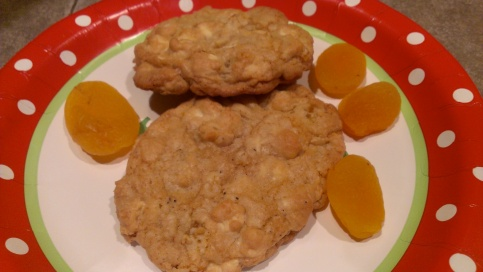 Tara's apricot and white chocolate chip cookies. Good stuff!