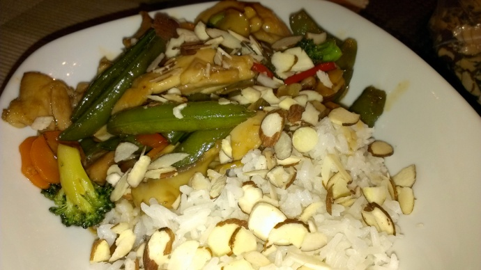 Stir-fry with slivered almonds
