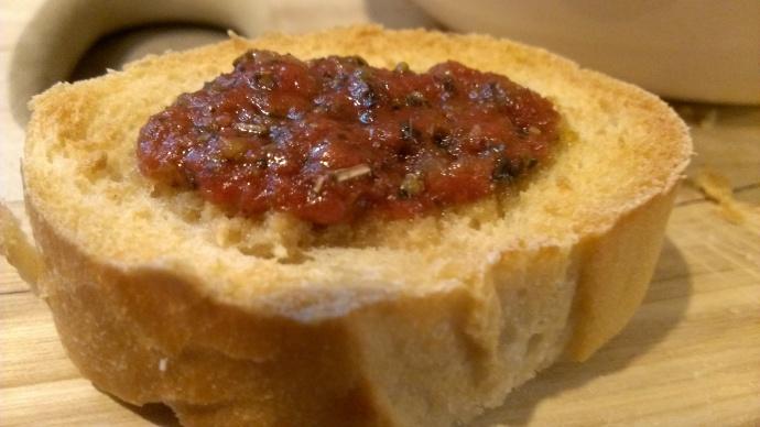 French bread with bruschetta.