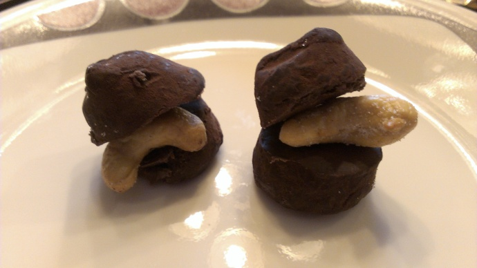 """""""Homemade"""" chocolate covered cashew truffles."""