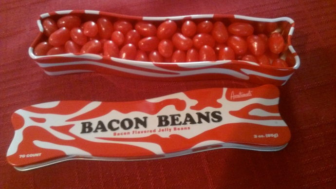 In case you were wondering, bacon flavored jelly beans are NO BUENO.