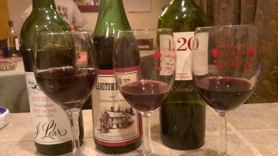 L to R: J. Lohr CA Red (circa early-mid 80s), Hangtown Red CA Red (1985), 120 Cabernet Sauvignon (2011).